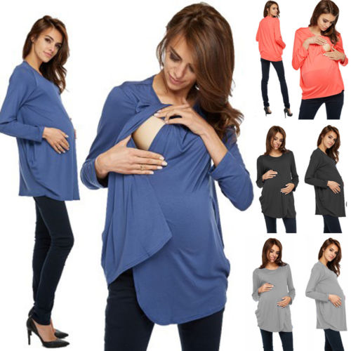 Ladies Solid Long Sleeve Breast Feeding Nursing Top Maternity Clothes Pregnant Women Shirt Chic Solid Cotton Top Clothing chic spaghetti strap pure color tank top ruffled collar long sleeve voile dress twinset for women