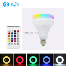 E27 12W Wireless Bluetooth Speaker Music Playing RGB LED Bulb AC 110V 220V Dimmable RGBW LED Lamp with 24 Keys Remote(China)