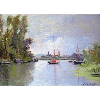 Hand Painted Oil paintings Claude Monet Canvas art Argenteuil Seen from the Small Arm of the Seine High quality home decor