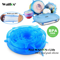 WALFOS 6pcs Universal Silicone Stretch Suction Pot Lids Kitchen Silicone Cover Cooking Pan Spill Lids Home Bowl Stopper Cover