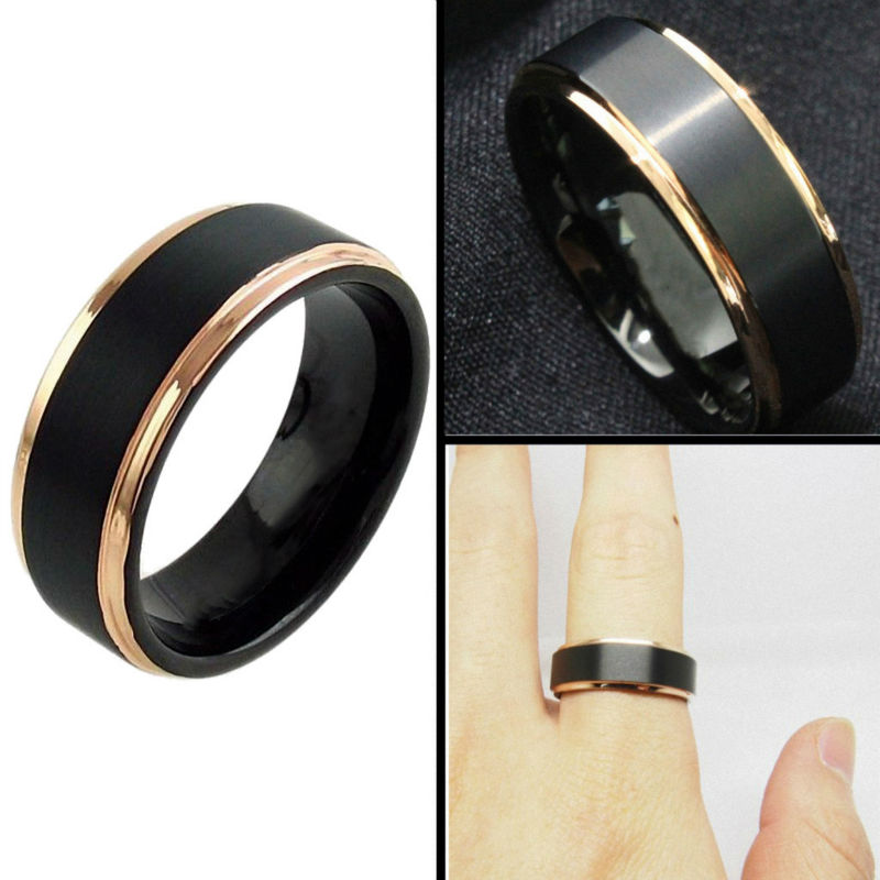 Tungsten Wedding Ring 8mm for Men Women Black & Rose Gold Stepped Edge Polished Engagement Bands
