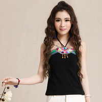 Chinese Wind Original National Wind Patch Embroidery Flower Beads Hanging Ladies Sexy Halter Vest Small Tape