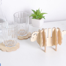 6pcs/set Table Cup Mat MDF Coasters Creative Place Mat Office Supplies Coffee Cup Mat Home Decor DIY Handmade Sheep Shape Gift creative office usb powered heat preservation mat cookie shape cup warmer