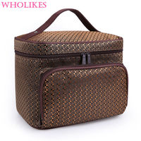 Wholikes Fashion High Capacity Beautician Professional Cosmetic Storage Cosemtic Bag Organizer Make Up Bag Womens Cosmetic