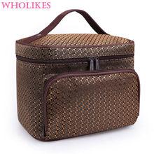 Wholikes Fashion High Capacity Beautician Professional Cosmetic Storage Cosemtic Bag Organizer Makeup Bag Womens Cosmetic Bag