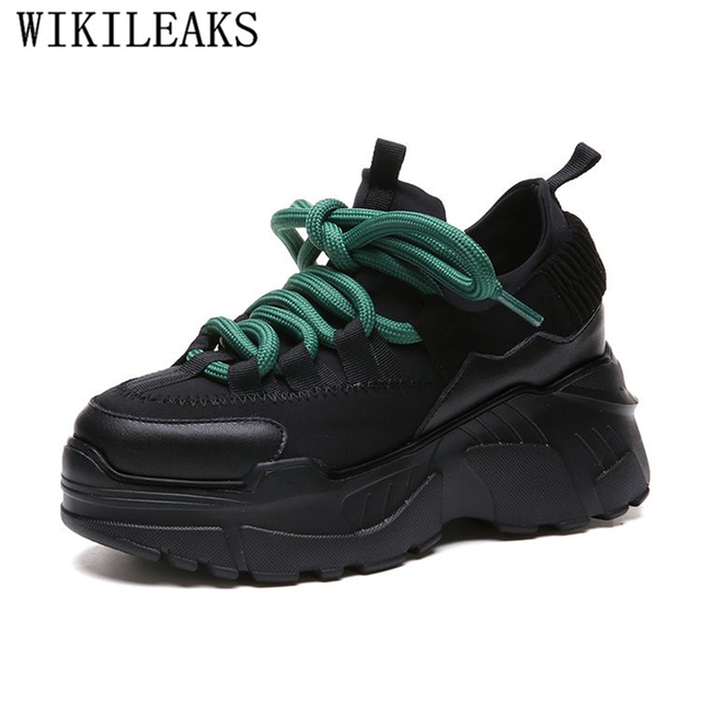 78e275365e4 height increasing womens shoes black platform sneakers tenis feminino  wedges shoes for woman harajuku zapatillas mujer casual