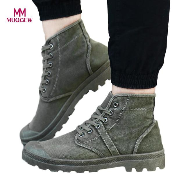 1de0580541 US $14.69 32% OFF|Men Canvas Shoes Fashion High Top Ankle Boots Comfortable  Thick Bottom Casual Canvas Shoes High Quality Lace Up Boots For Men-in ...