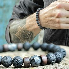 Fashion Antique Natural Stone Beads Lava Bracelet Charm Wooden Hematite Mens Braclet For Men Armband Jewelry Gift Homme(China)