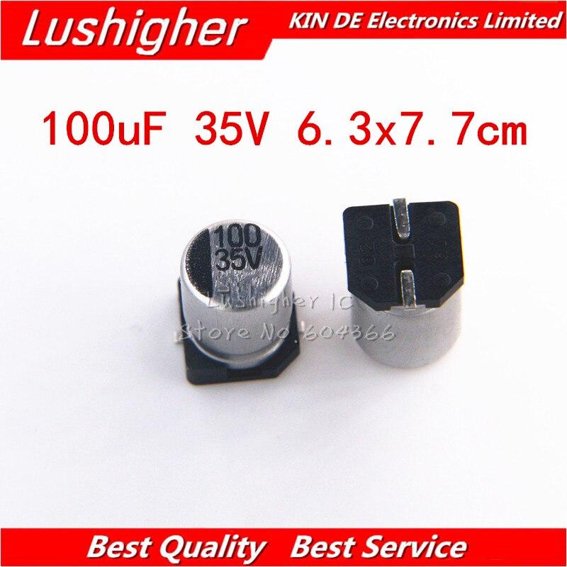 10pcs 35V 100UF SIZE 6.3x7.7mm SMD Aluminum Electrolytic Capacitor