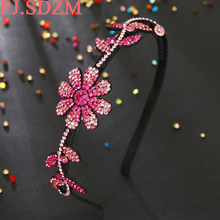 Роскошные CZ Хрустальный цветок Банданы для мужчин женщина полная горный хрусталь Hairbands Queen свадебные аксессуары для волос