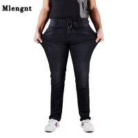 L 7XL Plus Size Mens Skinny Jeans Black Fashion Classic Stretch Male Denim Pants Elasticated Waist
