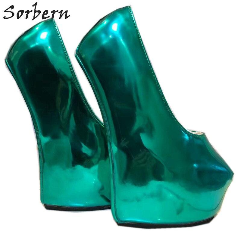 Sorbern Non talons femmes pompes chaussures plate forme sans lacet vert profond dames parti pompes en cuir verni T talons hauts pour boîte de nuit - 5