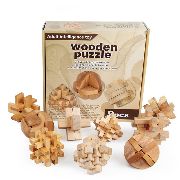 Kong Ming Luban Lock Chinese Traditional Toy Wooden Puzzles Clical Intellectual Educational Gift 6 Pcs Box T163