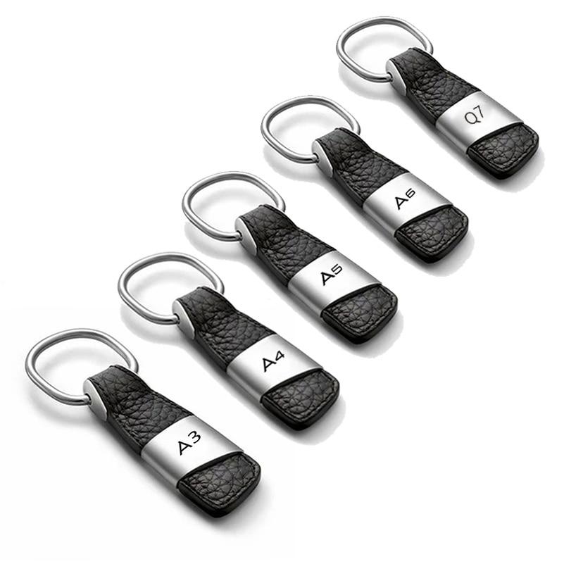 Leather Car Emblem Badge Keychain Key Ring for Audi A3 8P