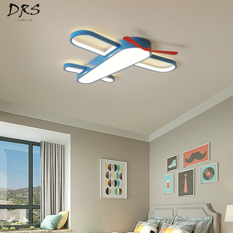 Children's Room Ceiling Lamp Creative Aircraft Lamp Bedroom LED Eye Protection Ceiling Lamp Living Room Lamp Cartoon Girl Room|Ceiling Lights| |  - title=