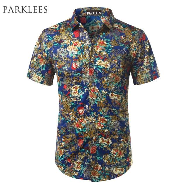 4a7916d9ab932 Camisa Homens de Design Da Marca Dos Homens de Seda de Veludo Floral Vestido  azul camisas