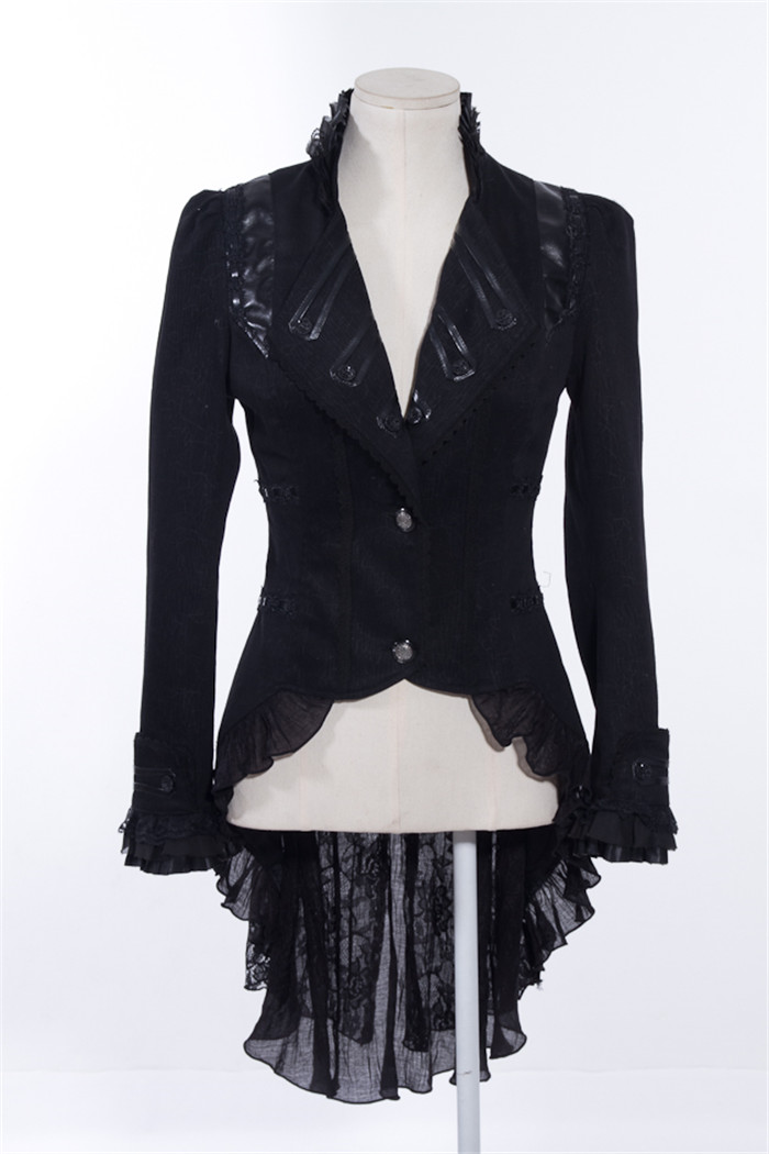 Gothique D'aronde D'hirondelle Près Manteau Unique À Corps V Black Veste Coupe Queue Rq Survêtement Femmes Dentelle Série Breas Steampunk cou coffee Du ZcqF4Epw