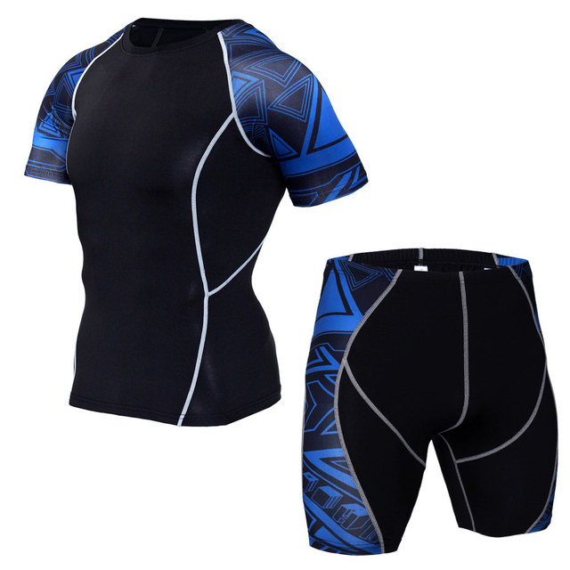 MMA Compression Sport Suit Men Sportswear Tracksuit Short Sleeve Running T Shirt Running Shorts Suits Jogging Sets Fitness Suit 2