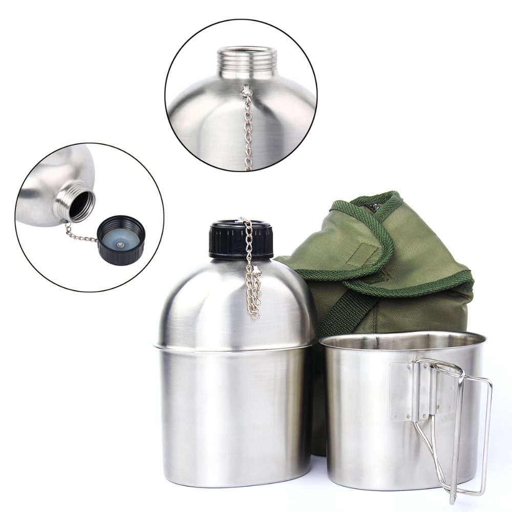 Stainless Steel Military Canteen 1L Portable with 0.5 L Cup Green Cover Camping Hiking Army Camping Picnic Travel Accessories Islamabad