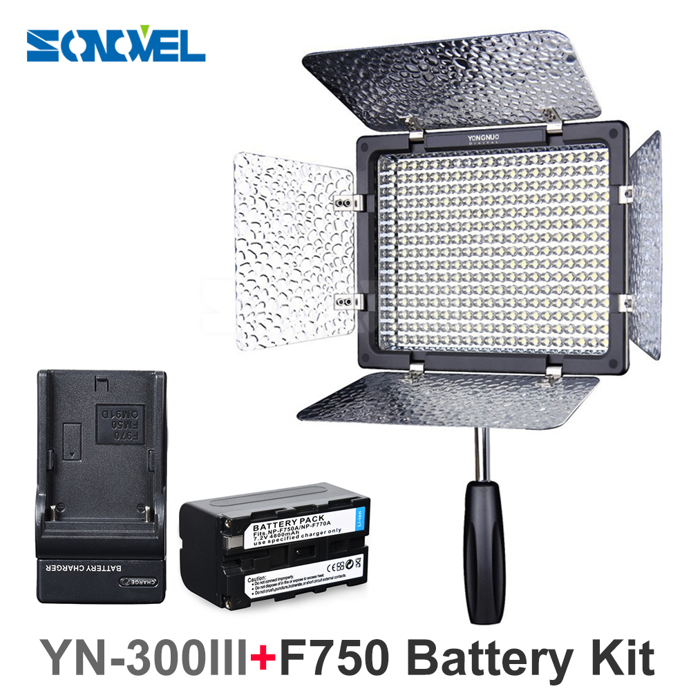 Yongnuo YN300 III YN-300 III 3200k-5500K CRI95 Camera Photo LED Video Light with 4600mAh NP-F750 Battery with Charger set yongnuo yn300 air 3200k 5500k yn 300 air pro led camera video light with np f550 battery and charger for canon nikon