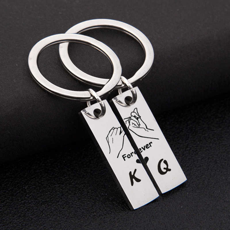 1 Set Fashion Tag Keychains Couple King Queen Forever Love Key Chains for Women Men Lovers Keyring Birthday Gifts Jewelry