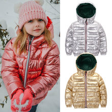 HH Girls winter coat parka kids pink gold silver down jacket for boy teenage winter jackets snowsuit russia jacket 2 8 10 years(China)