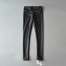 Fashion Street tide products stretch elastic waist plus PU leather leggings pants, elastic waist thin pencil pants