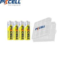 4 sztuk PKCELL AA bateria 600mah 1.2v NIMH AA akumulatory aa batteria ładowania i 1 sztuk AA opakowanie na baterie do aparatu zabawki