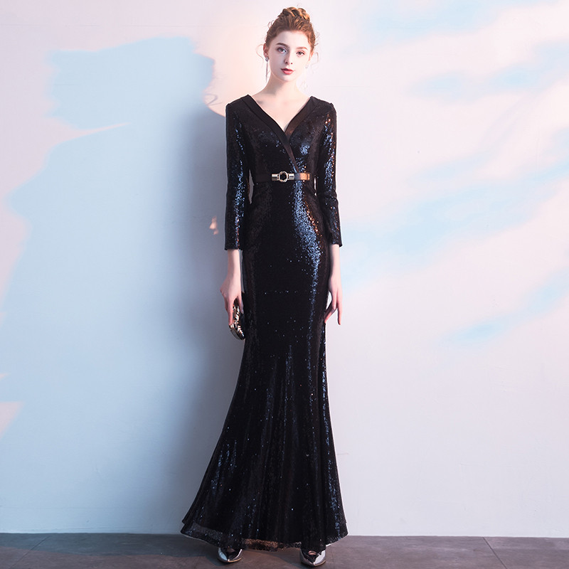 Long   Evening     Dress   2019 New V Neck Floor Length Sequin Gowns Formal Sparkly Mermaid Party   Dresses   LYFY27