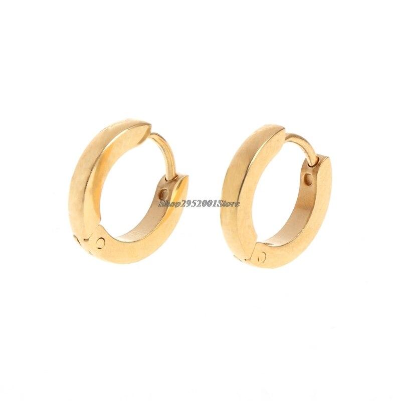 2017 Gold Color Ear Stud Stainless Steel Huggies Hoop For Men And Women NOV30_45