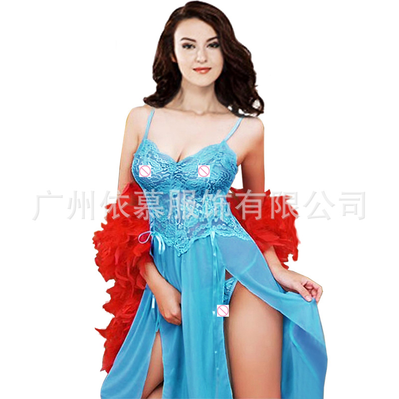 5XL <font><b>6XL</b></font> <font><b>Sexy</b></font> Lingerie Women Sleepwear Sleeveless Strap Nightdress Plus Size Lace Erotic Nightwear Large Size Sleep Dress SL017 image