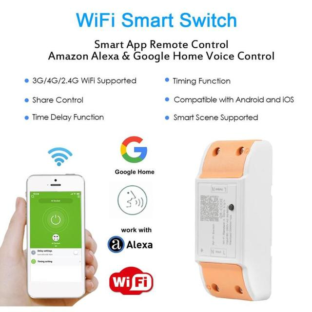 US $12 89 |WiFi Smart Switch Wireless Remote Control Light Timer Relay  Switches 110V 220V Home Automation Module Works With Amazon Alexa-in Home