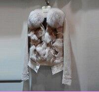 Китай 2018 дамы из натуральной свиной кожаная куртка с большой лисий мех женщин короткий тонкий дизайн Куртки Кот с белый черный XXL