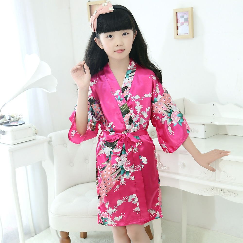 Summer Girls Robes Silk Dresses Satin Pajamas Kimono Clothing For Kids Children Clothes Nightgown Baby Bathrobe Night Dress