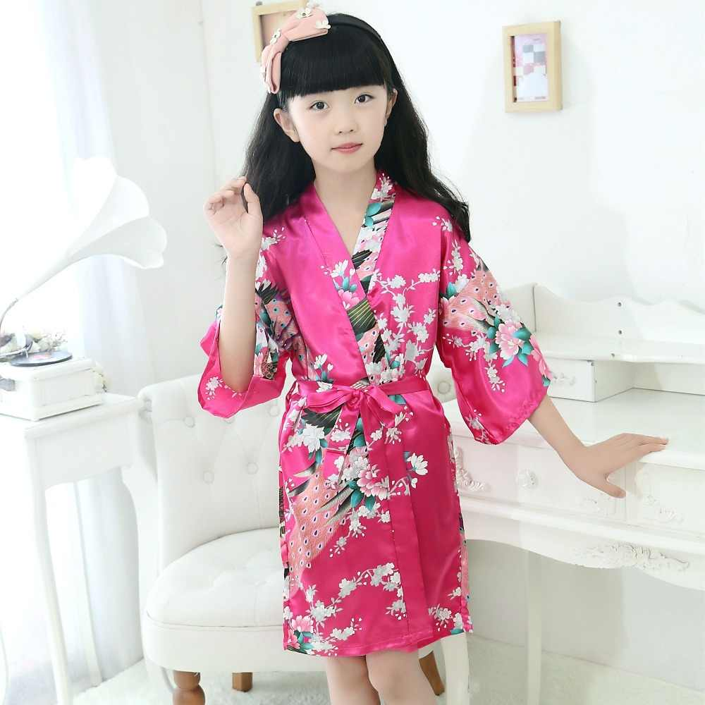 Летние девушки халаты шелковые платья атласные пижамы кимоно Костюмы для  детей Детская одежда ночная рубашка Baby 24d3feaf813ed