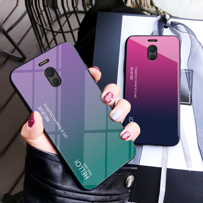 Fo Meizu M6 Note Case Luxury Hard Tempered Glass Fashion Gradient Protective Back Cover case For Meizu Note 6 full cover shell in Fitted Cases from Cellphones Telecommunications