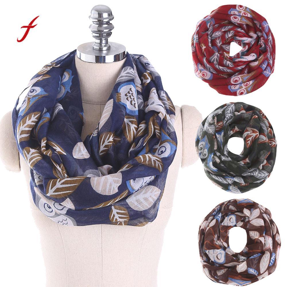 Quality women scarf snud ladies owl leaves print pattern bandana for female fashion scarf voile keep warm wrap shawls