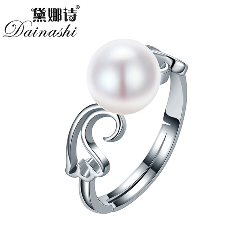 Dainashi Real Pearl Jewelry Water Drop Natural Freshwater Pearl Flower Wedding Rings Top Quality Pearl Ring For Women Gift