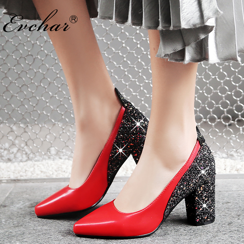 EVCHAR  bling fashion design women's high heels pumps spring autumn  sexy  Party Wedding  shoes 8cm heels shoes large size 32-48 siketu 2017 free shipping spring and autumn high heels shoes fashion women shoes wedding shoes sex wild pumps g427