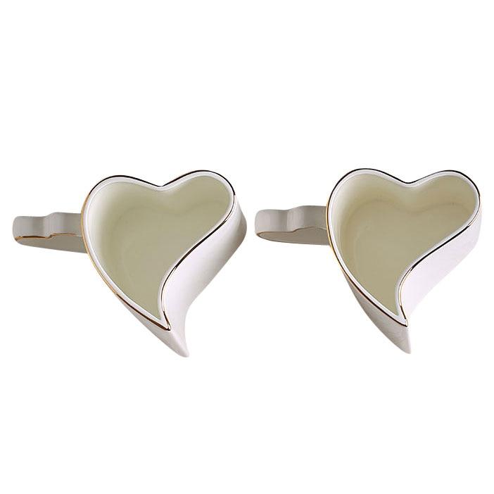 350ML 2pcs/lot Valentines wedding gift Heart shaped couple mug Bone china nespresso coffee Mug Ceramic zakka milk Morning mug