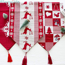 Christmas Decorations Creative Christmas Elk Print Table Flags Christmas Desktop Decorations christmas elk print plus size sweater