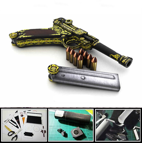 3D Paper Model Gun / Pistol WWII  Germany Luger P08 Pistol 1:1 Military Weapon Magazine 3d Puzzles Toy