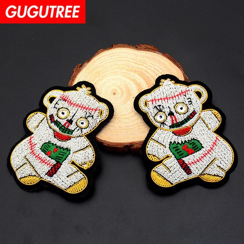 GUGUTREE inde ours en soie patchs animaux perlés badges appliques patchs pour vêtements SK-120