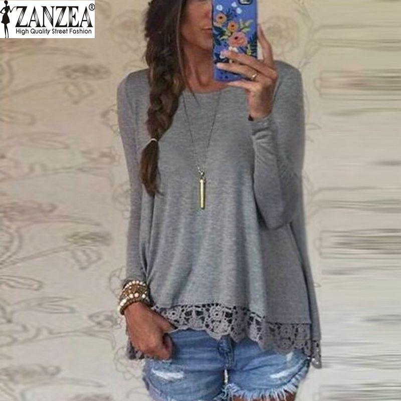 Nuovo 2016 Zanzea Fashion T Shirt Donna Manica Lunga O-Collo Casuale top Sexy Lace Crochet Del Ricamo Top Tees Blusas Plus Size 5XL