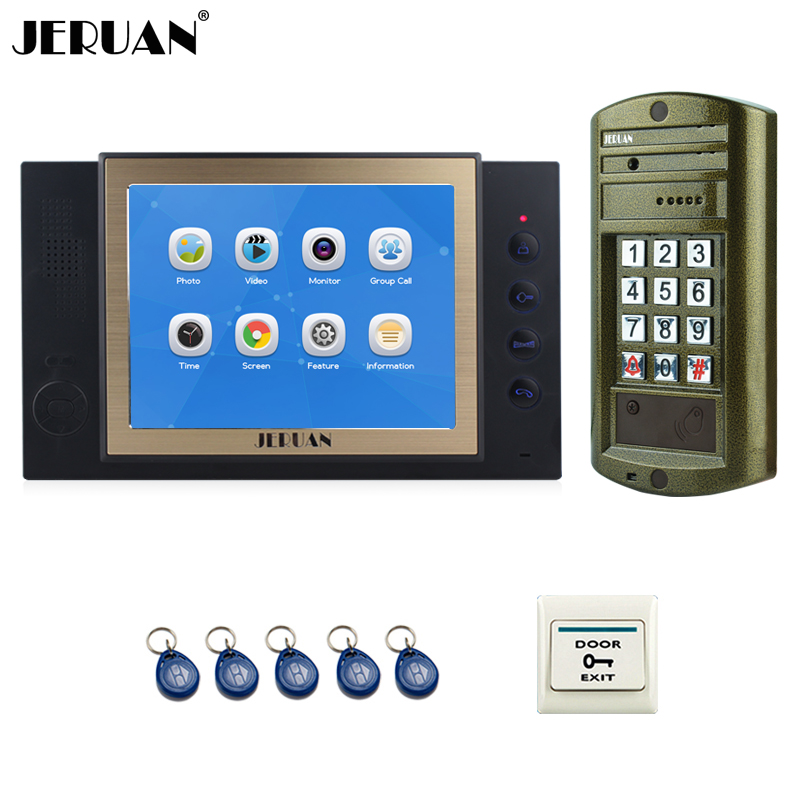 JERUAN NEW 8 inch Color LCD Video Door Phone Record Intercom System kit Metal panel Waterproof Password HD Mini Camera 8GB Card jeruan 8 inch video door phone high definition mini camera metal panel with video recording and photo storage function