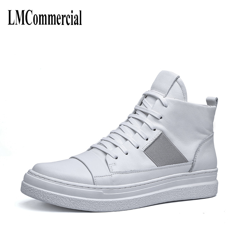 White high top men's winter British casual shoes All match cowhide breathable sneaker fashion boots men Leisure boots men 2017 new autumn winter british retro men shoes leather breathable sneaker fashion boots men casual shoes handmade fashion
