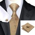 C-309 Marrom Dourado Dos Homens Conjunto Gravata 2016 Jacquard Laços para Homens Gravatas De Seda do Bolso Praça Abotoaduras Moda Floral 8.5 cm Corbatas