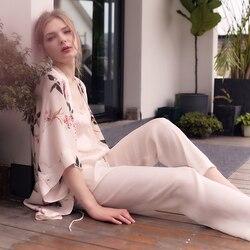 Elegante vestido de pijama de traje de las señoras de las mujeres de moda mañana bata de novia 3 uds conjunto