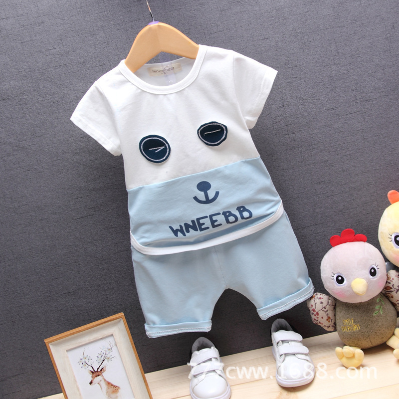 Baby Boys Girls Clothing Set 2018 Summer New Fashion 100% Cotton Eyes Print For 1 2 3 4 Years Olds Infant Clothes 2pcs Kids Suit