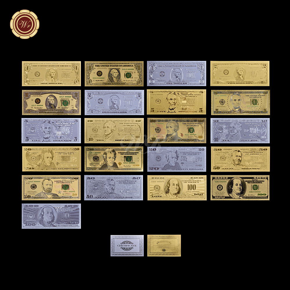 $1 - $<font><b>100</b></font> US <font><b>Dollar</b></font> <font><b>Bill</b></font> Full Set 21pcs 24k Gold US <font><b>Dollar</b></font> Banknotes Gold/Silver/Colored Collection with Gold/Silver Card image